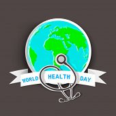 Abstract world heath day concept with globe and stethoscope on brown background.