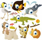 animal set: sandpiper, fish, dolphin, crocodile, hamster, owl, dog