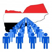 Lines of people with Yemen map flag illustration
