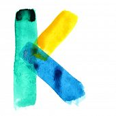 Letter K - colorful watercolor alphabet