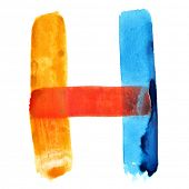 Letter H - colorful watercolor alphabet