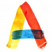 Letter A - colorful watercolor alphabet