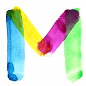 Letter M - colorful watercolor alphabet