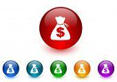 money internet icons colorful set