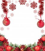 frame from red christmas tree decorations isolated on white background