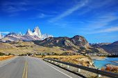 Excellent highway in Patagonia.  Famous rock Fitz Roy peaks in the Andes.