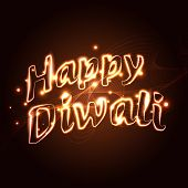 Vector happy diwali text on a background