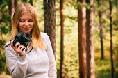 Young Woman With Retro Photo Camera Outdoor Hipster Lifestyle Forest Nature On Background