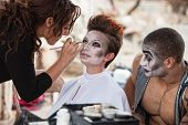 Постер, плакат: Makeup Artist Working Backstage