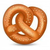 Fresh tasty Pretzel for Oktoberfest. Vector illustration.
