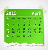 Calendar april 2015 colorful torn paper