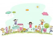 Illustration Featuring Kids Surrounded by Different Types of Candies