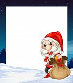 Illustration of a banner with santa background