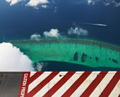 Group of atolls and islands in Maldives, from view seaplane