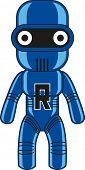 Toy robot character. Raster illustration.