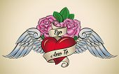 Old-school styled tattoo of a red heart, pink roses and blue wings. The motto Ego Amo Te means I Lov