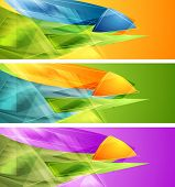 Bright banners with abstract shapes. Vector design