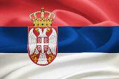 picture of serbia  - Flag of Serbia waving in the wind - JPG