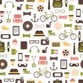 Seamless pattern of hipster vector colorful style elements and icons set for retro design. Infograph