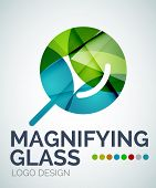Abstract magnifying glass logo design made of color pieces - various geometric shapes