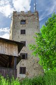 Lookout tower Ryzmberk with blue sky in Czech Republic