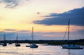 Landscape Of Boats In Harbor During Summer Sunset