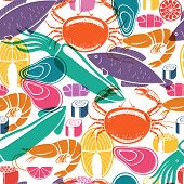 Fish and seafood background seamless pattern