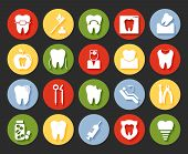 stock photo of braces  - Flat style vector dental icons set on colorful web buttons showing a dentist  examination  caries  implant  toothbrush  antibiotics  crown  filling  x - JPG
