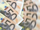 Closeup of fifty euro banknotes with spinning effect
