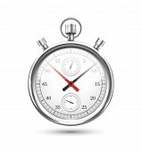 Silver Stopwatch Graphic Hovering on White