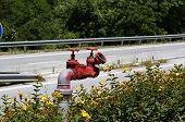 On Expressway Near Gas Station Red Fire Hydrant