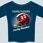 picture of football helmet  - Blue Football League Play Offs Tee Shirt with Red Helmet and Lucky Number Thirty Three - JPG