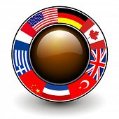 Button with flags around, 3D vector illustration.