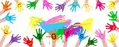 2015 new year colorful smiley hands