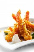 Japanese Cuisine - Deep Fried Shrimps with Vegetables