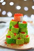 picture of avocado tree  - Maki Sushi Roll Christmas Tree on a table - JPG