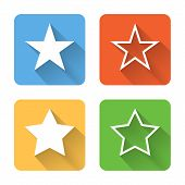 Flat Star Icons. Vector Illustration