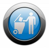 picture of dumpster  - Icon Button Pictogram with Trash Dumpster symbol - JPG
