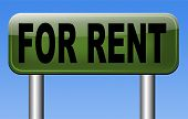 For rent sign renting a house apartment or other real estate road sign. Home to let