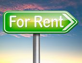 For rent sign, renting a house apartment or other real estate to let label. Home flat or room to let .