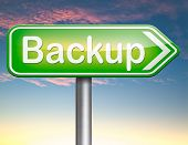 Backup data and software on copy in the cloud on a harddrive disk on a computer or server for file security