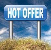 hot offer sales promotion advertising or sign for online internet web shop. Webshop shopping sales