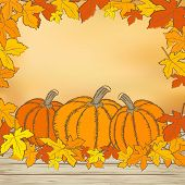 Pumpkins On Wooden Background With Leaves