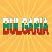 Bulgaria flag text with sunburst vector illustration