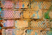 Background From Colored Old Bricks