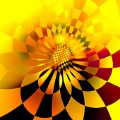 Abstract Digital Sunflower Fractal Background