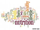 Vector eps concept or conceptual abstract health and nutrition word cloud or word cloud on white bac