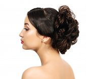 Pretty with braided hair, white background, copyspace