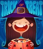 picture of halloween characters  - Little cute witch - JPG