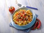 pasta with tuna tomatoes hot chili pepper and olives